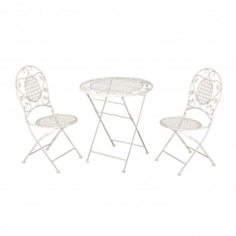 Set masa rotunda, cu 2 scaune, pentru gradina Nantes, pliant, din metal, alb