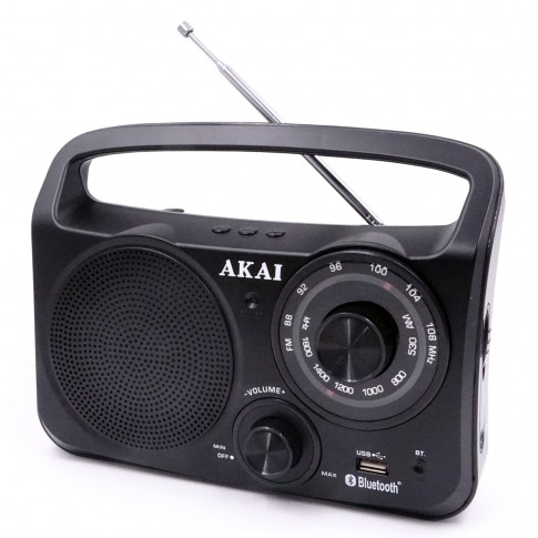Radio FM / AM portabil Akai APR-85BT, 0.15 W, alimentare retea sau baterii, Bluetooth, USB, Aux in, antena FM telescopica