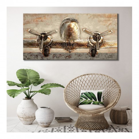 Tablou canvas F675A, Avion, efect 3D, panza + sasiu lemn, 120 x 60 cm