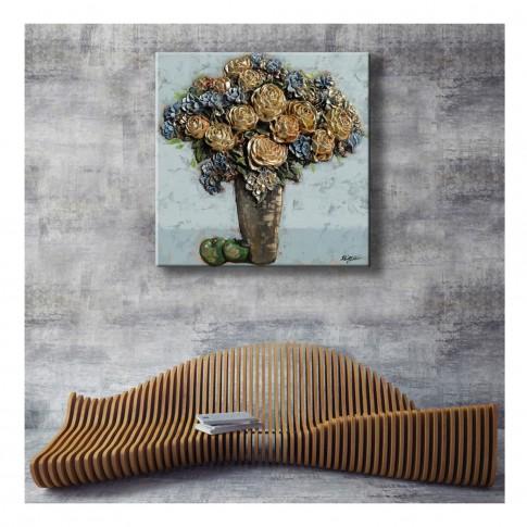 Tablou canvas H1483B, natura statica, efect 3D, panza + sasiu lemn, 60 x 60 cm