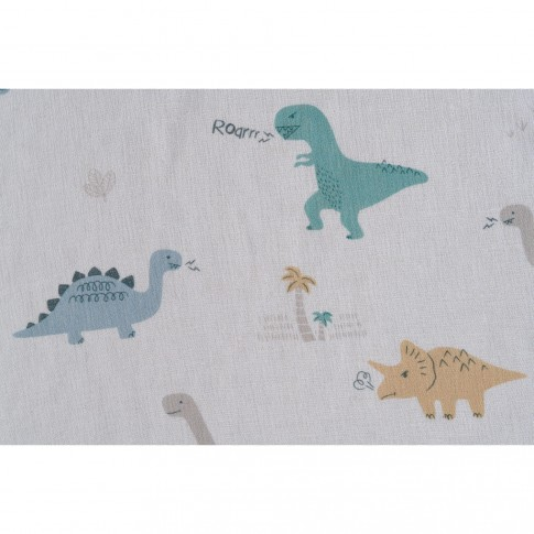 Perdea Dino , poliester, alb, imprimeu dinozauri, H 280 cm