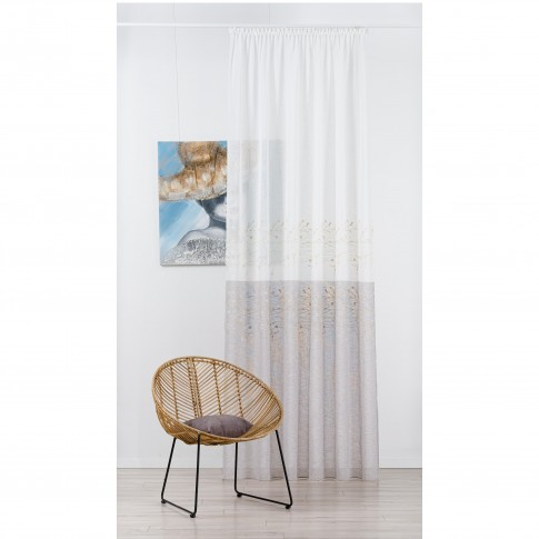 Perdea Vella 02 , poliester, crem, model abstract, H 280 cm