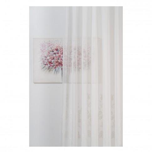 Perdea Mendola Fabrics, model Selva, Monograma, natur, alb, H 280 cm