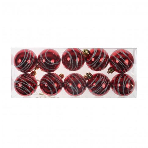 Globuri Craciun, rosii, 5 cm, set 10 bucati, N3/5010AS