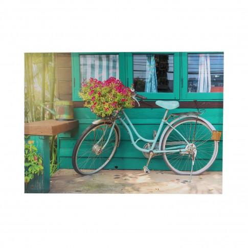Tablou canvas TA20-A0457, Bicicleta cu flori, panza + sasiu, 70 x 50 cm