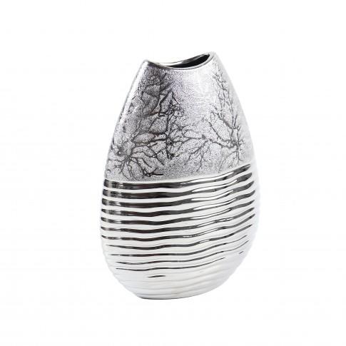 Vaza ceramica decorativa, M4857, argintiu, model in relief, H 33 cm