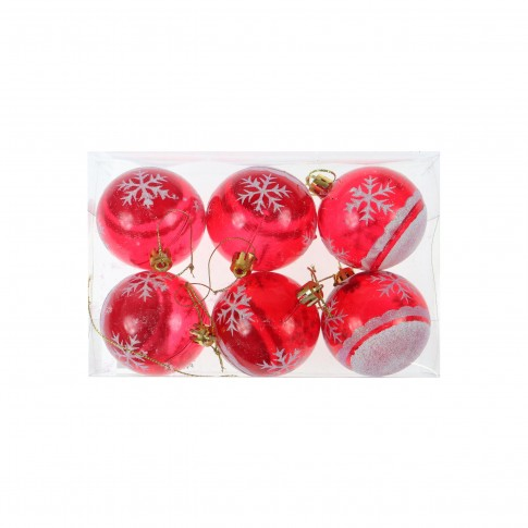 Globuri Craciun, rosii, D 6 cm, set 6 bucati, SD19B-6-362