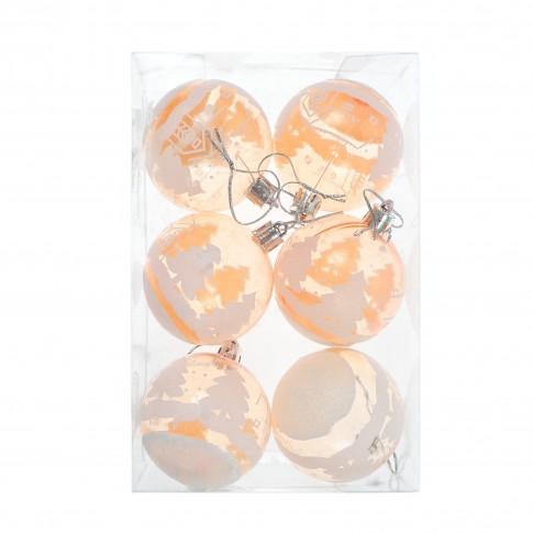 Globuri Craciun, portocalii, diametru 6 cm, set 6 bucati, SD19B-6-368