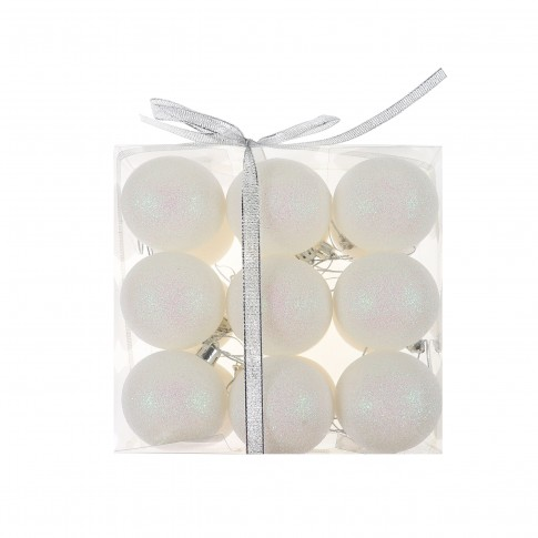 Globuri Craciun, albe, D 6 cm, set 18 bucati, SD19B-6-411