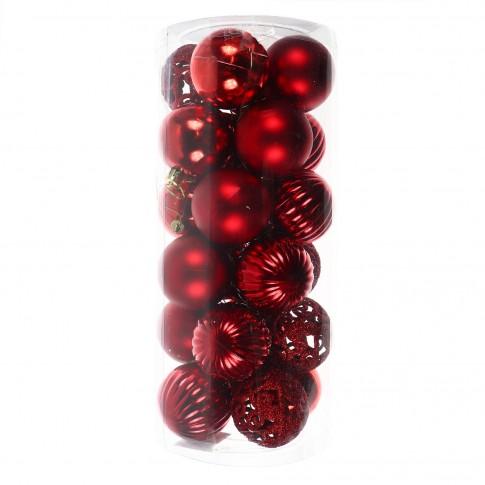 Globuri Craciun, rosii, D 6 cm, set 24 bucati,  SD19B-6-452