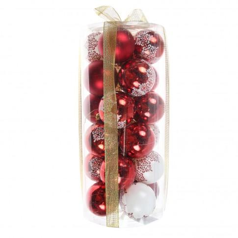 Globuri Craciun, rosii + albe, D 6 cm, set 24 bucati, SD19B-6-454