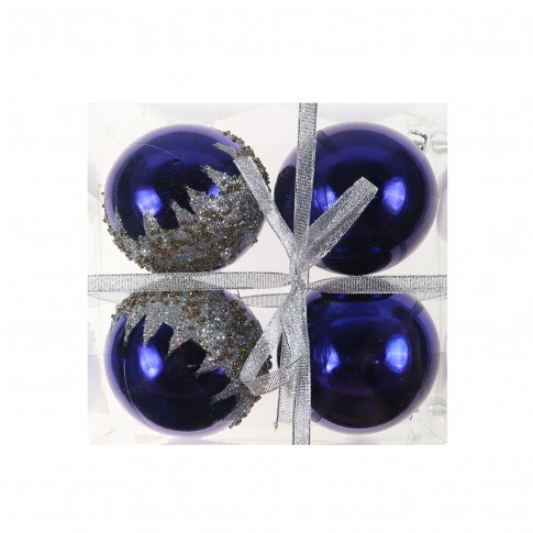 Globuri Craciun, indigo, D 10 cm, set 4 bucati, SD19B-10-415