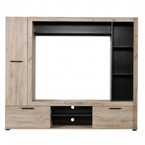 Biblioteca living Lorca, stejar gri + lemn negru, 195.5 cm, 2C