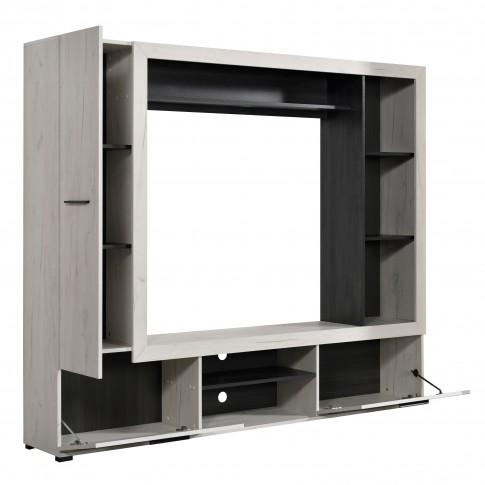 Biblioteca living Lorca, stejar alb + lemn negru, 195.5 cm, 2C