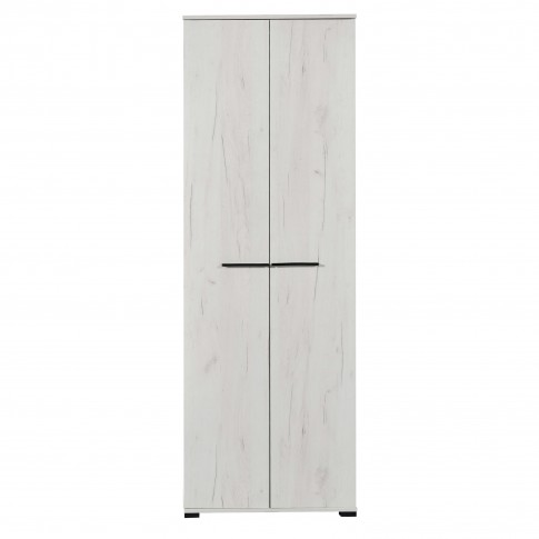 Dulap Lorca 2K, cu 2 usi, stejar alb + lemn negru, 67.5 x 40 x 195 cm, 1C