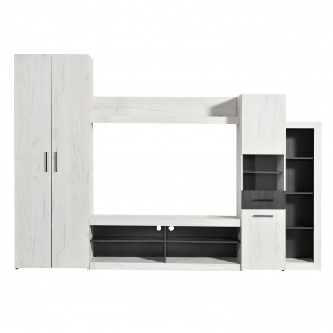 Biblioteca living Taragona, stejar alb + lemn negru, 279.5 cm, 3C