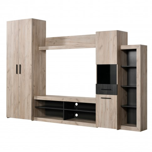 Biblioteca living Taragona, stejar gri + lemn negru, 279.5 cm, 3C