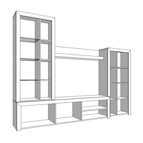 Biblioteca living Merida, cu lumini, stejar gri + folie lucioasa alba, 264 cm, 5C