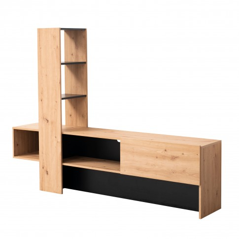 Comoda TV Orense, stejar artisan + negru, 185.5 x 36.5 x 138.5 cm, 1C