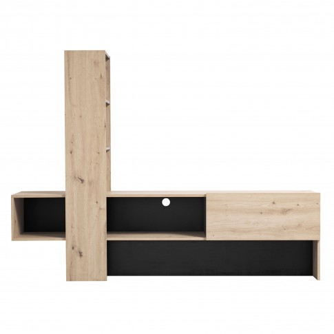 Comoda TV Orense, stejar gri + negru, 185.5 x 36.5 x 138.5 cm, 1C