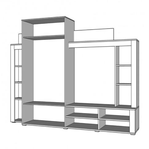 Biblioteca living Talin, stejar gri + gri grafit, 233.5 cm, 3C