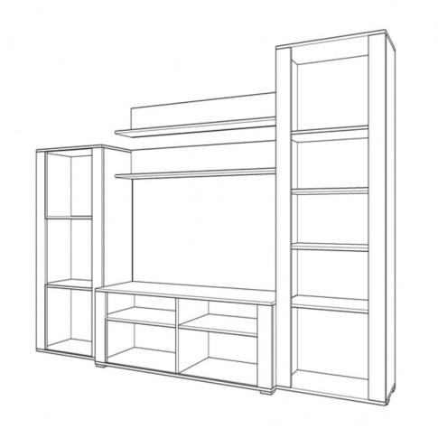 Biblioteca living Opus, stejar artisan + stejar alb, 229 cm, 3C