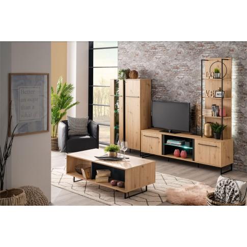 Comoda TV Sardinia 170, cu lumini, stejar artisan + negru, 170 x 42 x 54 cm, 2C