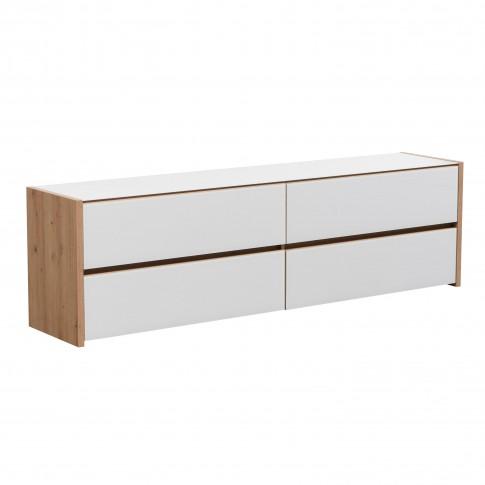 Comoda TV Molise, cu lumini, stejar artisan + sticla vopsita alb, 188 x 40 x 55 cm, 3C