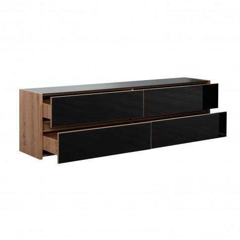 Comoda TV Molise, cu lumini, stejar artisan + sticla vopsita negru, 188 x 40 x 55 cm, 3C