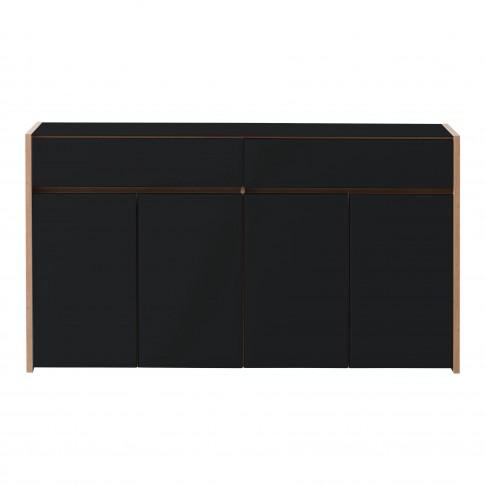 Comoda Molise 4K2F, cu lumini, stejar artisan + sticla vopsita negru, 165 x 40 x 91.5 cm, 4C
