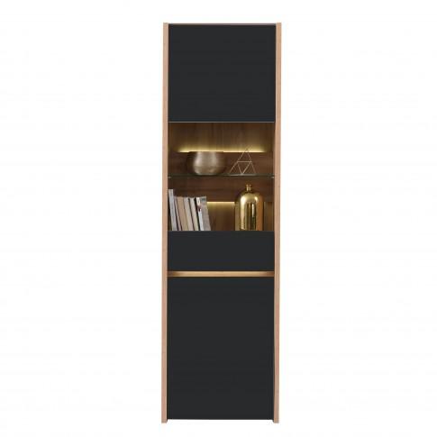 Vitrina living Molise 1K VS, cu lumini, stejar artisan + sticla vopsita negru, 55 x 40 x 186.5 cm, 3C