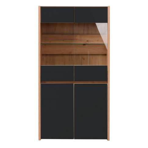 Vitrina living Molise 2K VS2, cu lumini, stejar artisan + sticla vopsita negru, 85 x 40 x 160 cm, 4C