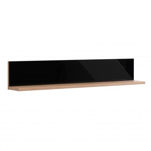 Etajera PAL, perete, Molise ZP, stejar artisan + sticla vopsita negru, 137 x 19.5 x 24 cm, 1C
