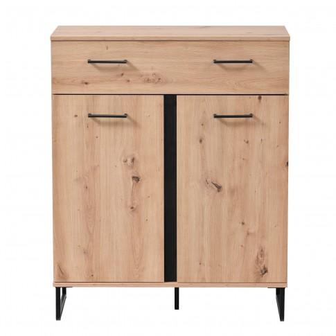 Comoda hol Sardinia 2K1F, cu usi + sertar, stejar artisan + negru, 84.5 x 35 x 103.5 cm, 1C