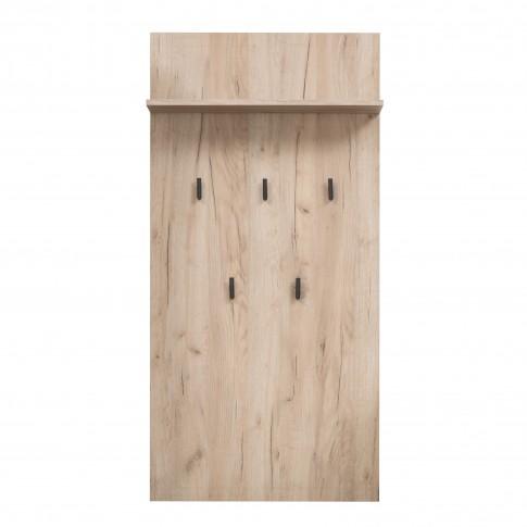 Cuier hol pentru perete Umbria CIV cu 5 agatatori si polita, stejar gri, 670 x 195 x 1370 mm, 1C