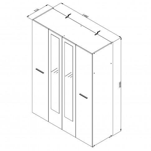 Dulap dormitor Ritmo 4K2O, stejar sonoma + alb mat, 4 usi, cu oglinda, 148 x 51.5 x 200 cm, 3C