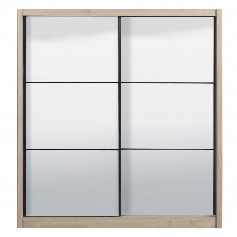 Dulap dormitor Navara 215, stejar gri, 2 usi glisante, cu oglinzi, 213 x 60 x 215.5 cm, 7C