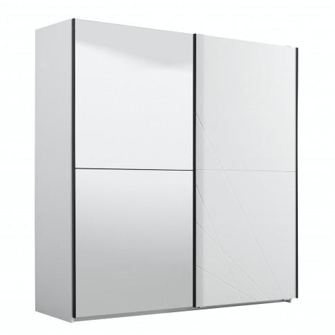 Dulap dormitor Ksanti 220, alb mat + folie lucioasa alba, 2 usi glisante, cu oglinda, 217 x 62.5 x 210 cm, 8C