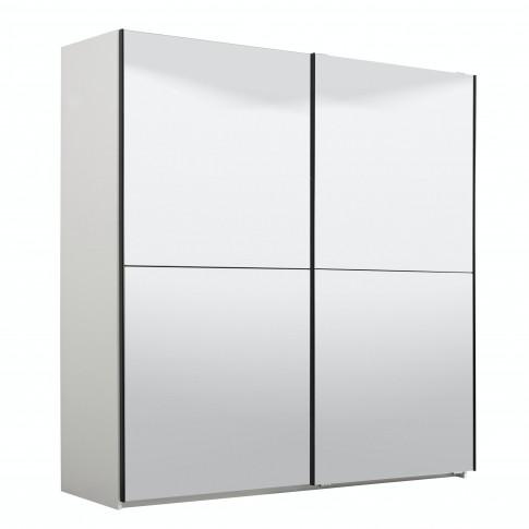 Dulap dormitor Ksanti 220, alb mat, 2 usi glisante, cu oglinzi, 217 x 62.5 x 210 cm, 8C