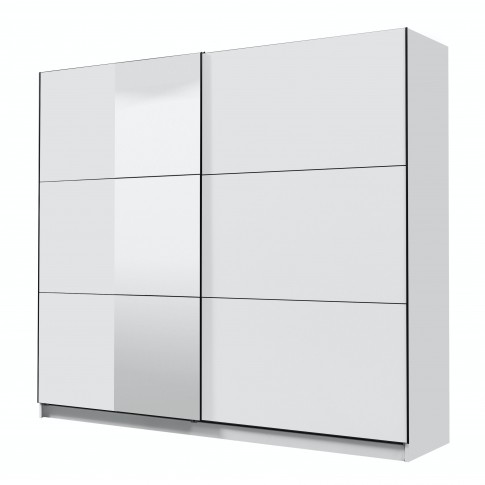 Dulap dormitor Sierra 240, alb mat, 2 usi glisante, cu oglinda, 236.5 x 62.5 x 210 cm, 8C