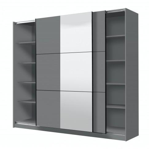Dulap dormitor Sierra 240, gri grafit, 2 usi glisante, cu oglinda, 236.5 x 62.5 x 210 cm, 8C