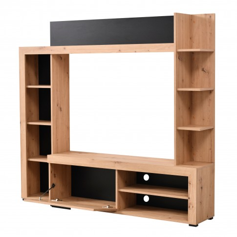 Biblioteca living Rubi, stejar artisan + negru, 172.5 cm, 2C
