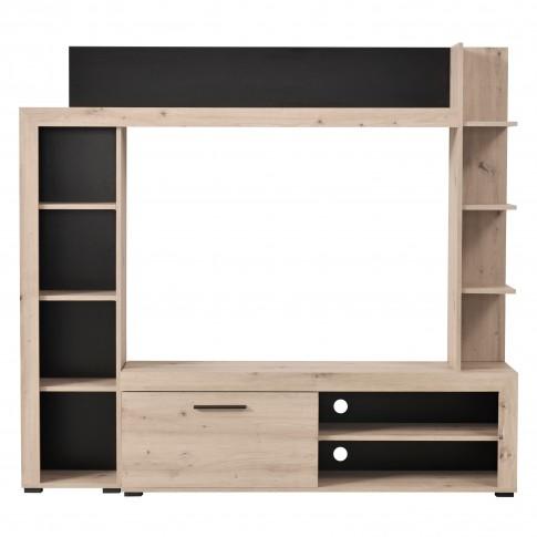 Biblioteca living Rubi, stejar gri + negru, 172.5 cm, 2C