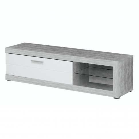 Comoda TV Remo 180, beton + folie lucioasa alba, 181 x 41.5 x 43.5 cm, 1C