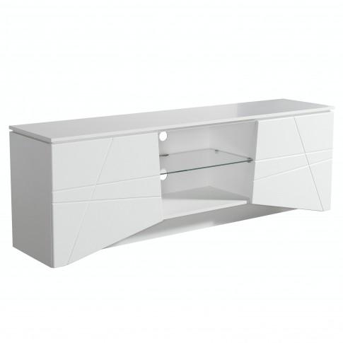 Comoda TV Cadiz, alb mat + folie lucioasa alba, 168.5 x 39.5 x 56.5 cm, 2C