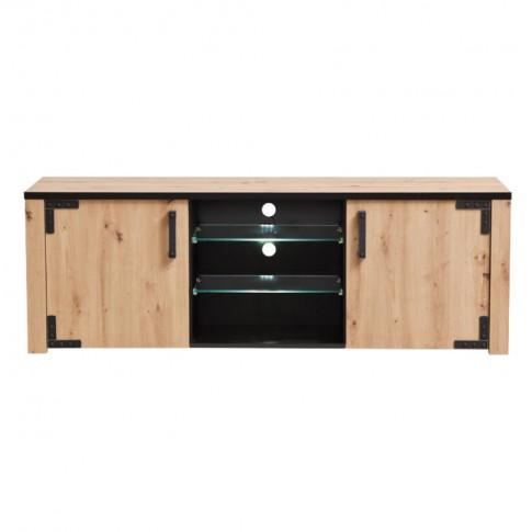 Comoda TV Lazio 170, cu lumini, stejar artisan + negru, 168 x 40 x 57.5 cm, 3C