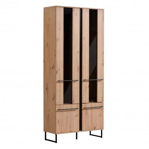 Vitrina living Sardinia 2K VS2, stejar artisan + negru, 84 x 35 x 193.5 cm, 2C