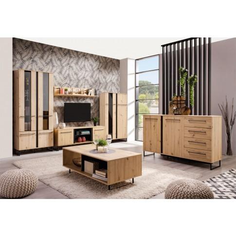 Comoda TV Sardinia 170, stejar artisan + negru, 170 x 42 x 54 cm, 1C