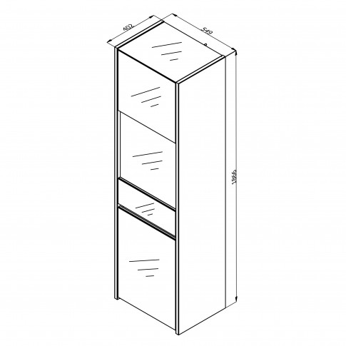 Vitrina living Molise 1K VS, stejar artisan + sticla vopsita alb, 55 x 40 x 186.5 cm, 2C