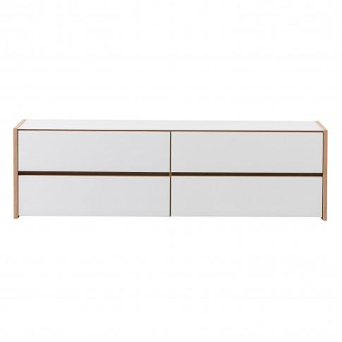 Comoda TV Molise, stejar artisan + sticla vopsita alb, 188 x 40 x 55 cm, 2C